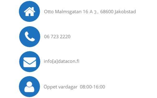 Datacon öppet, telefonnummer, adress, e-postadress